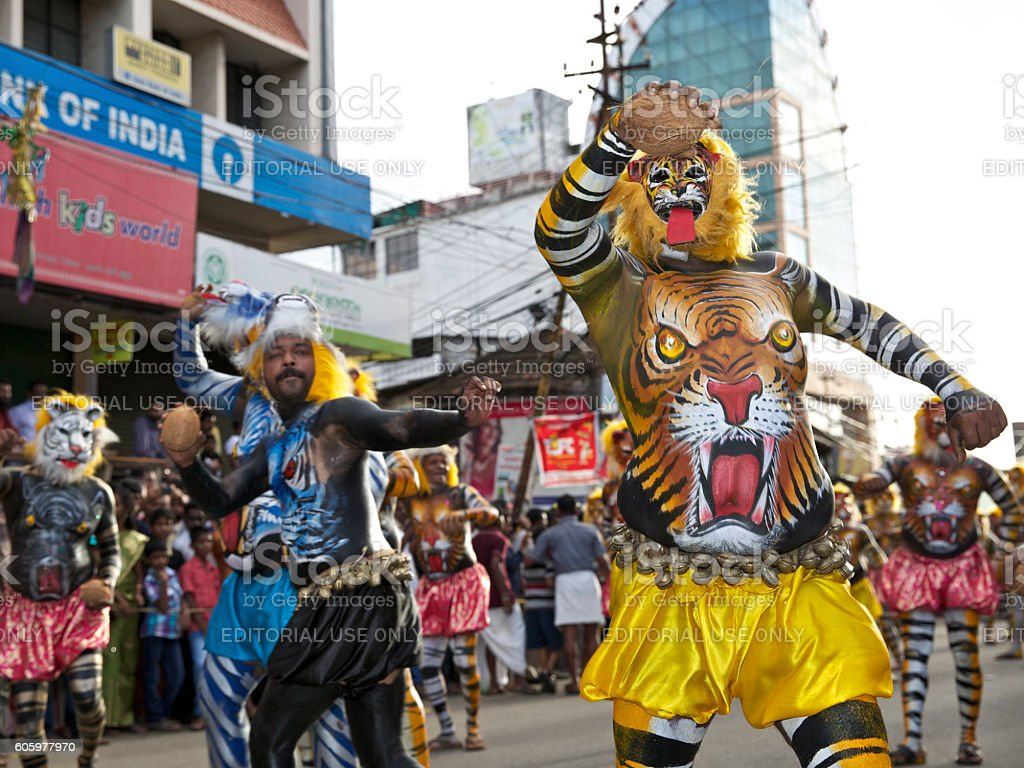 Pulikali Performers stock photo