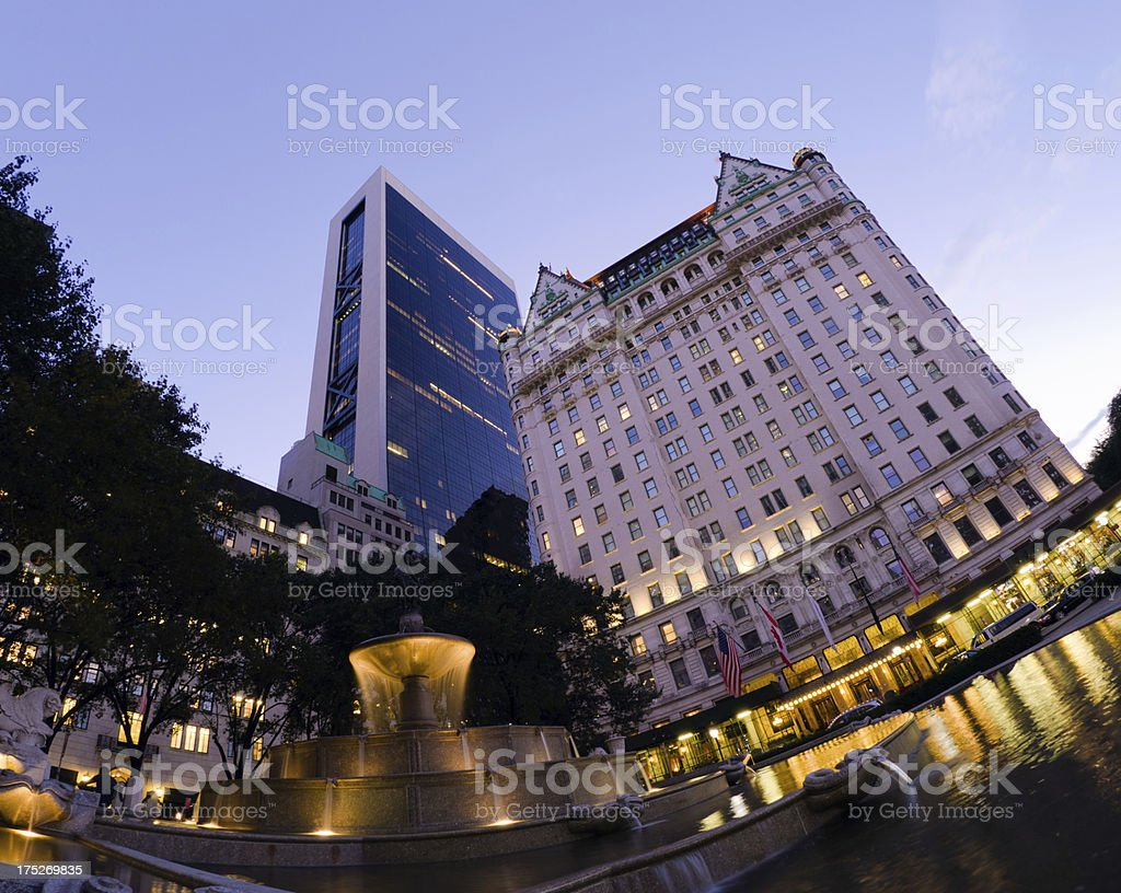 Pulitzer Fountain and Plaza Hotel in New York City royalty-free stock photo