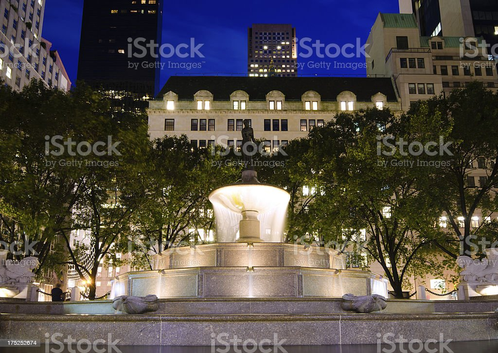Pulitzer Fountain at Grand Army Plaza in New York City stock photo