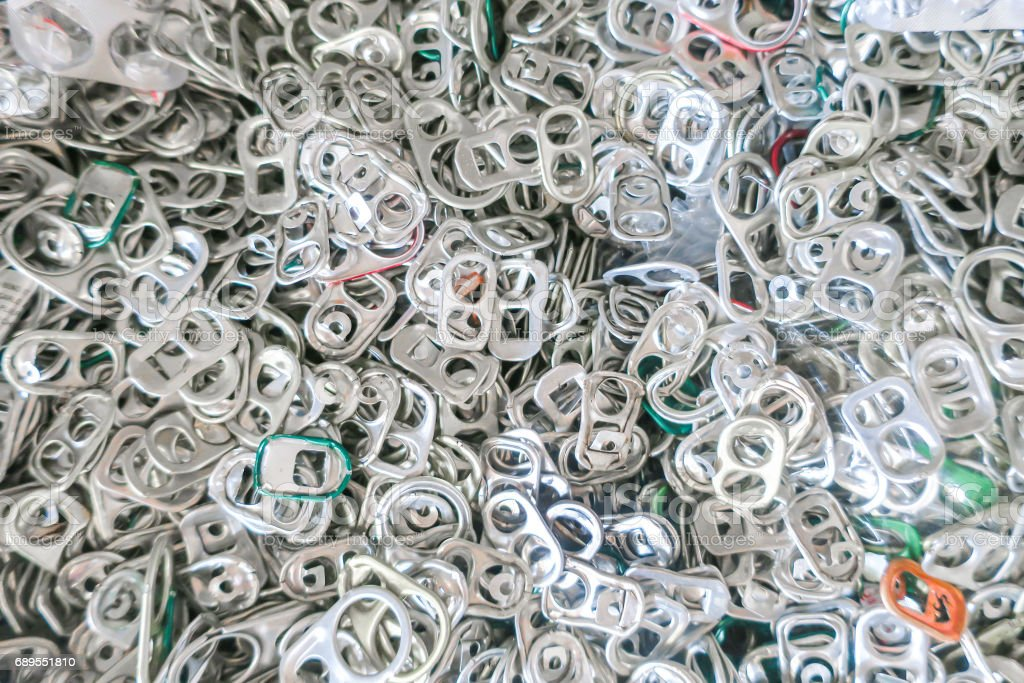 Pull rings pile on top view stock photo