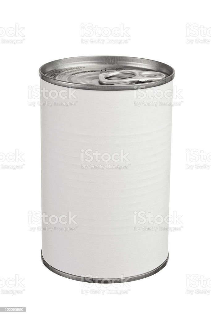 Pull Tab Metal Food Can With Blank Label stock photo