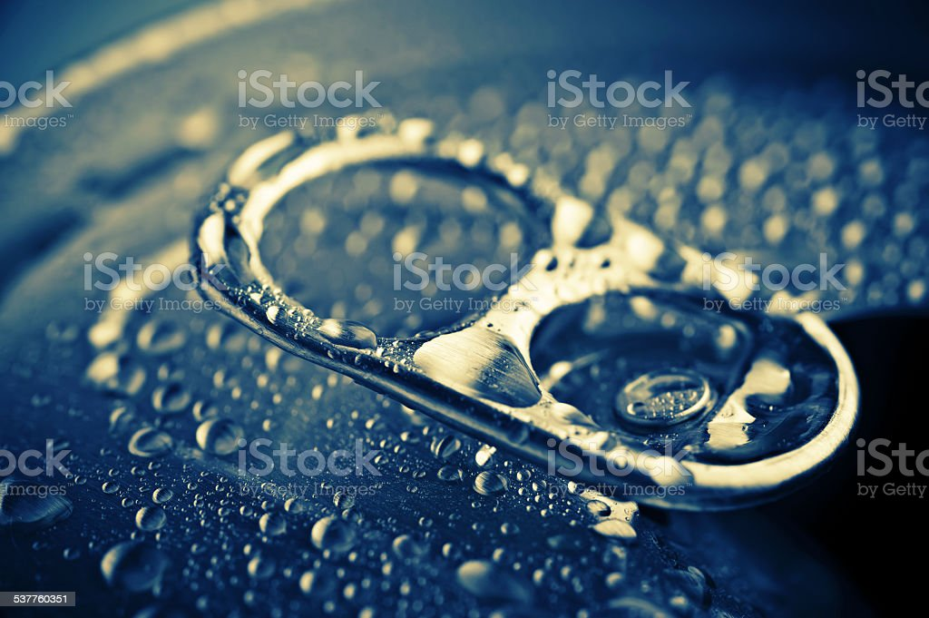 pull tab of tin with condensation stock photo