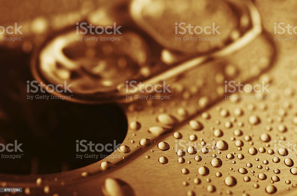 pull tab of tin with condensation royalty-free stock photo