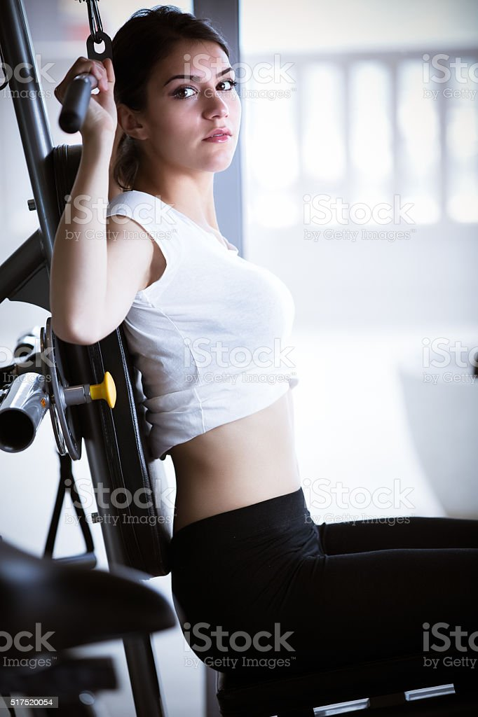Pull ups workout in the gym.Sport and fitness,summer body stock photo