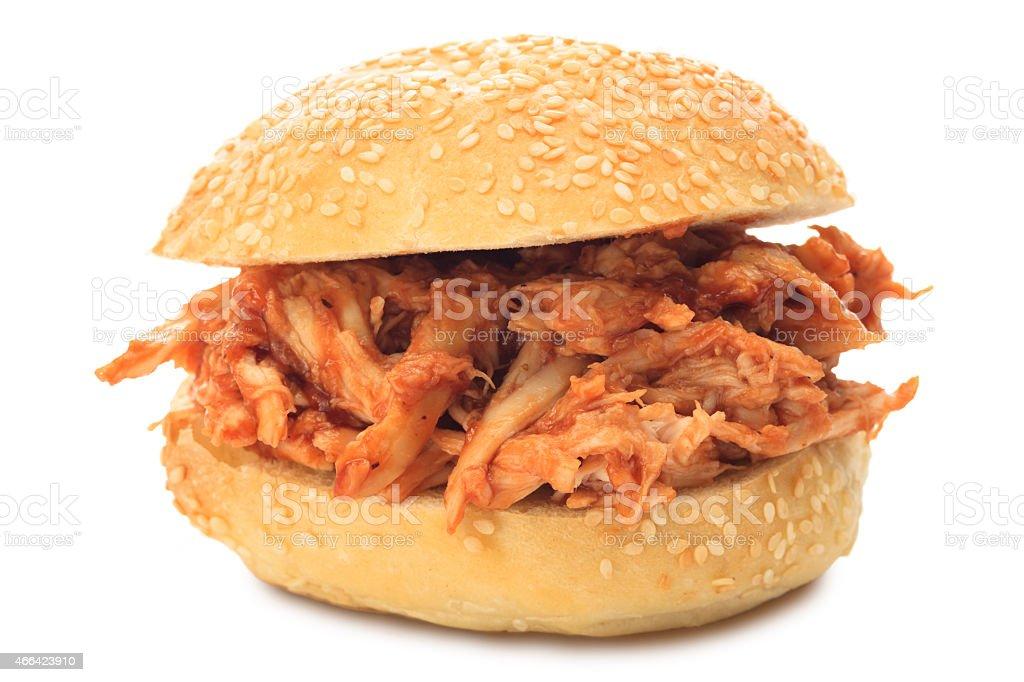 Pulled BBQ Chicken Sandwich on Sesame Seed Bun stock photo