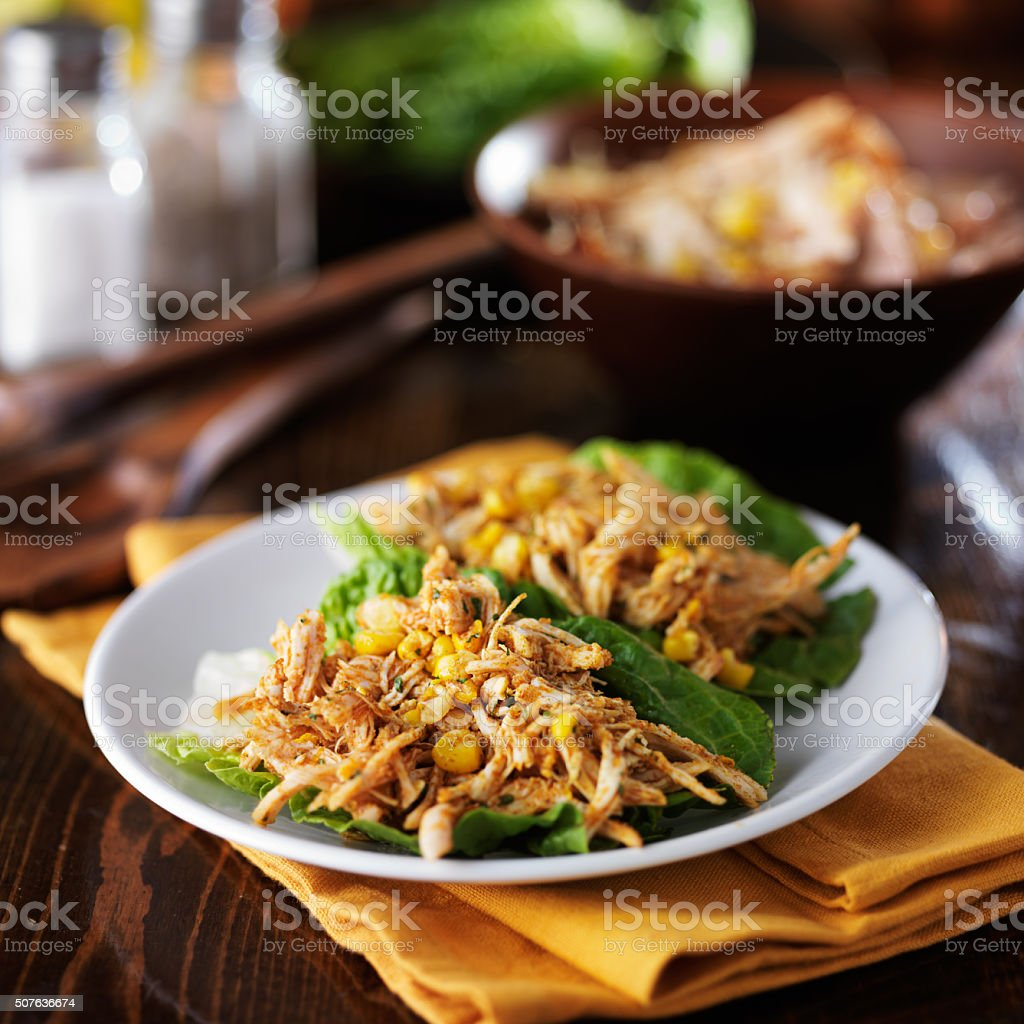 pulled chicken lettuce wraps stock photo
