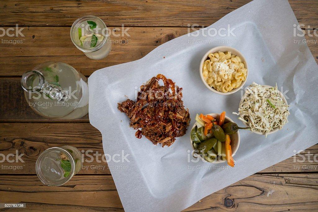 BBQ pulled pork and lemonade. stock photo