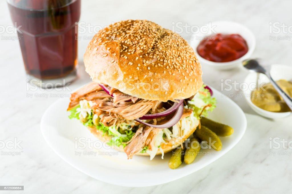 pulled pork burger stock photo
