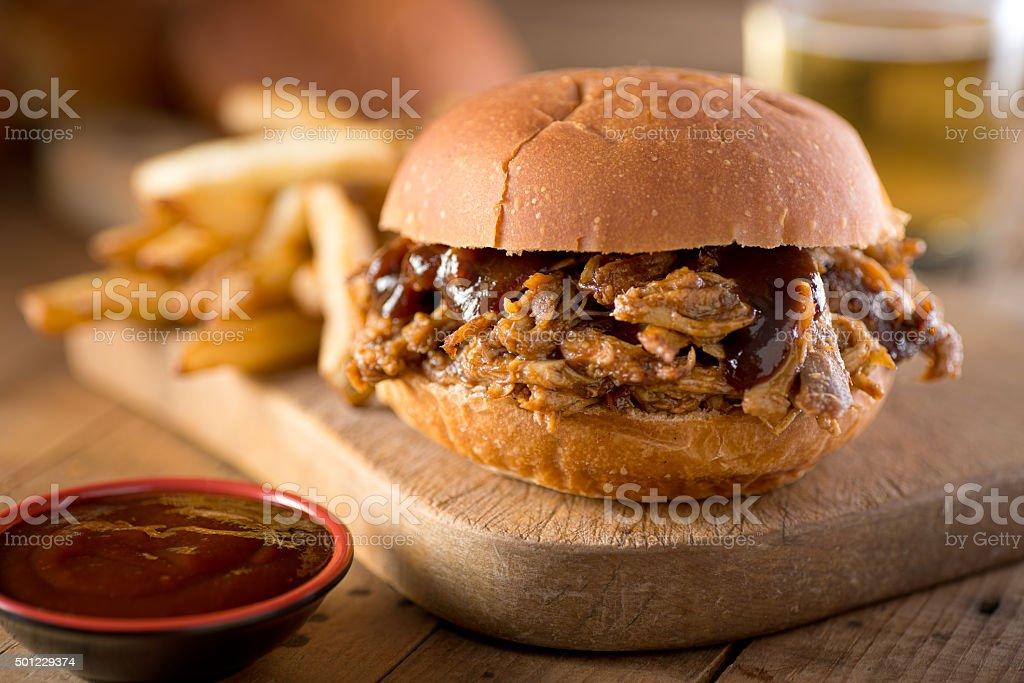 Pulled pork on a bun. stock photo
