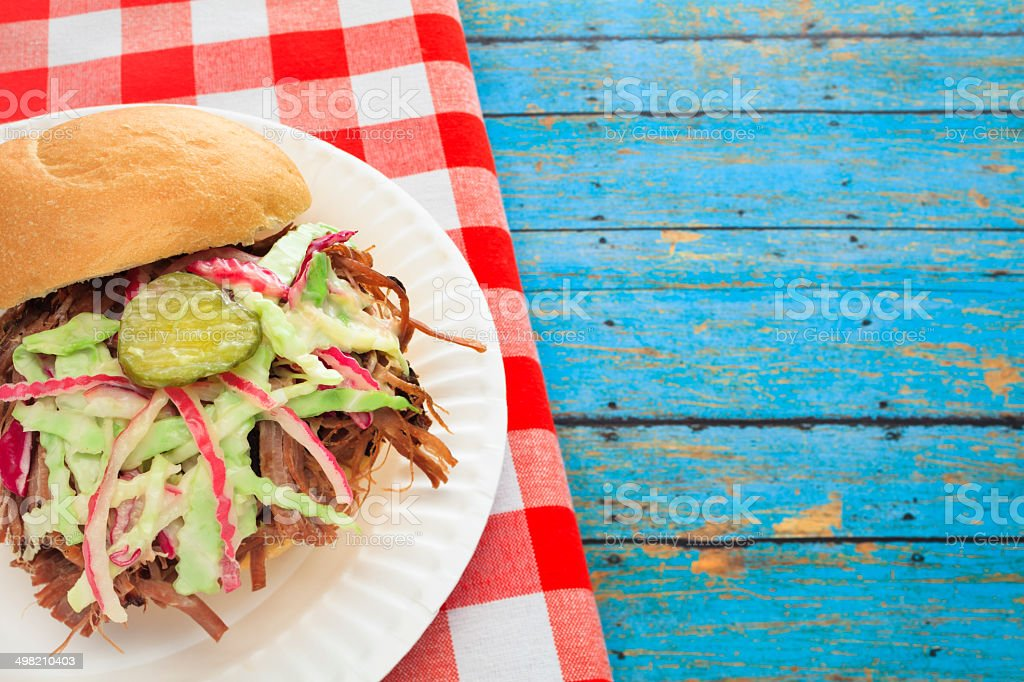 Pulled Pork Sandwich and Slaw stock photo