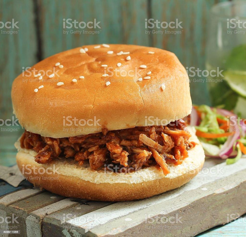 Pulled Pork Sandwich, selective focus stock photo