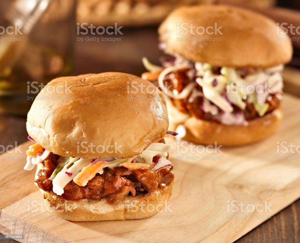 BBQ pulled pork sandwich sliders with cole slaw stock photo