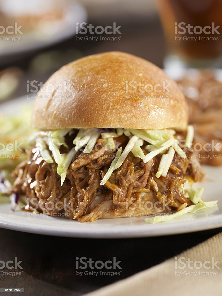 Pulled Pork Sandwich with Coleslaw and Baked Beans royalty-free stock photo