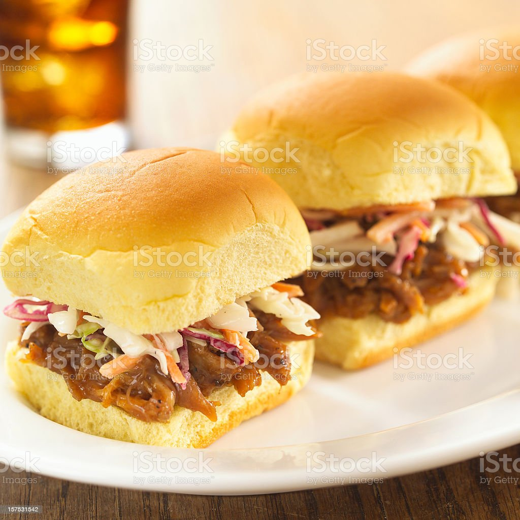 Pulled Pork Sliders, cola royalty-free stock photo