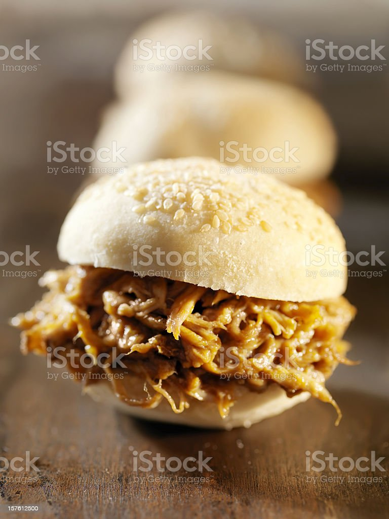 BBQ Pulled Pork Sliders royalty-free stock photo