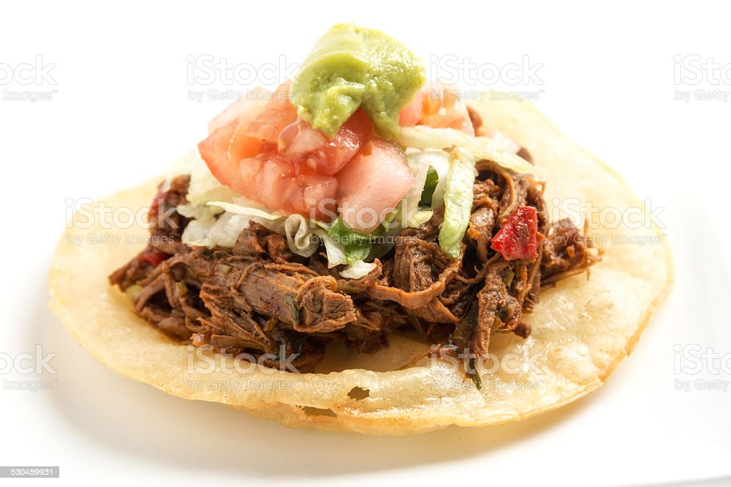 Pulled Pork Tostada (Cochinita Pibil) stock photo