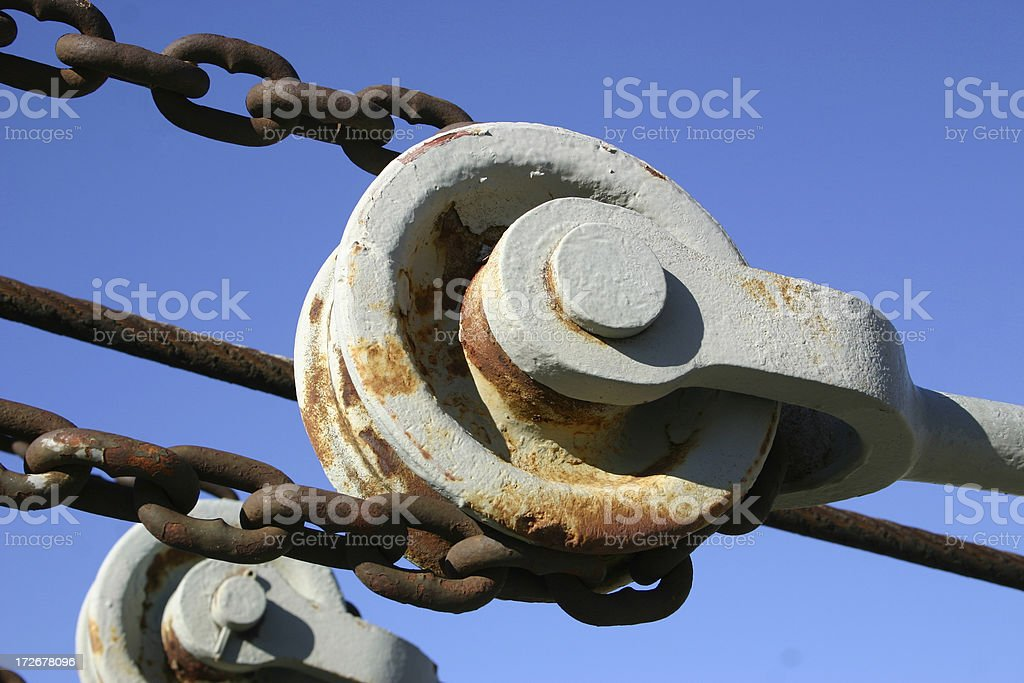 Pulley and chain royalty-free stock photo