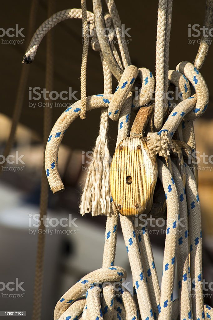 Pulley and Ropes royalty-free stock photo