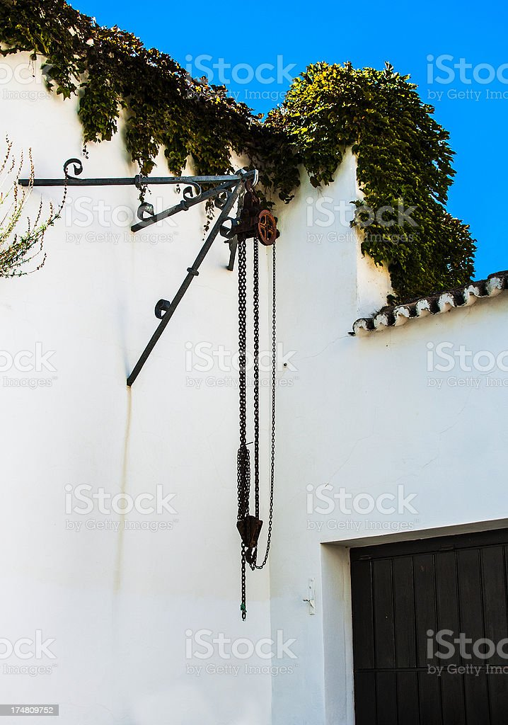 Pulley at Bullring Used for Dead Bull Butchering after Bullfight royalty-free stock photo