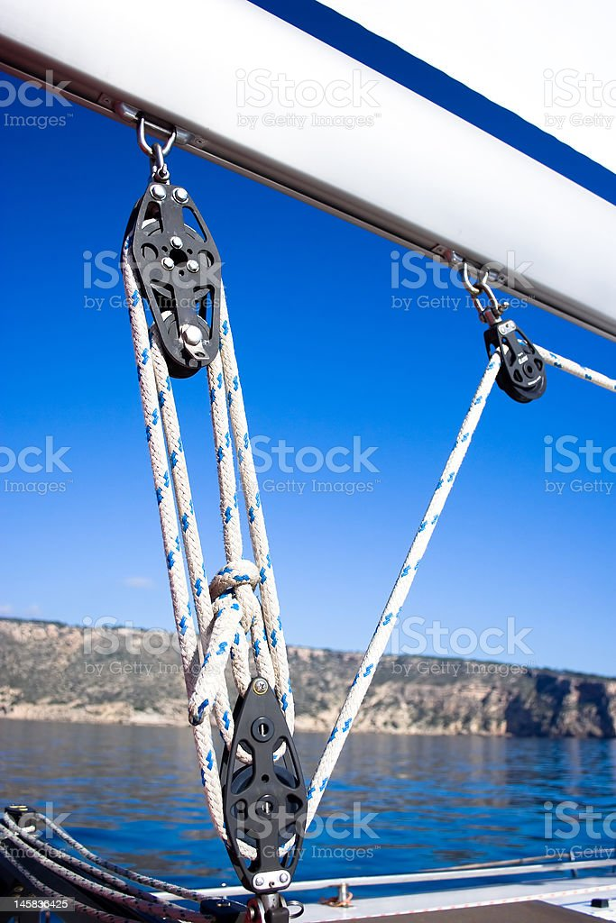 Pulley on the sailboat. royalty-free stock photo