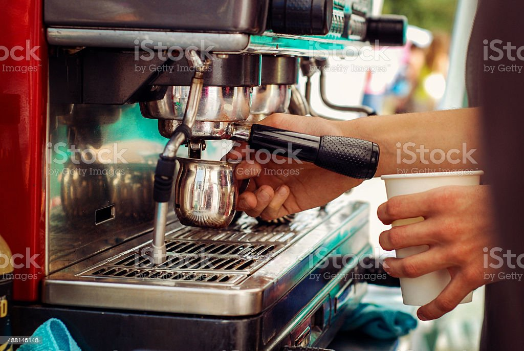 Pulling A Shot of Espresso stock photo