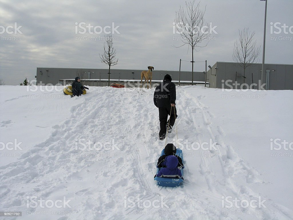Pulling a Sled royalty-free stock photo