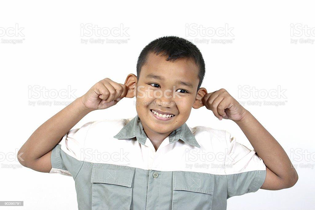 pulling ears stock photo