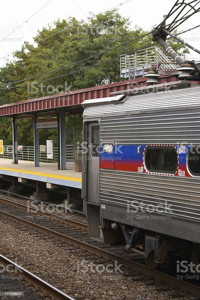Pulling into the Train Station On Overcast Day royalty-free stock photo