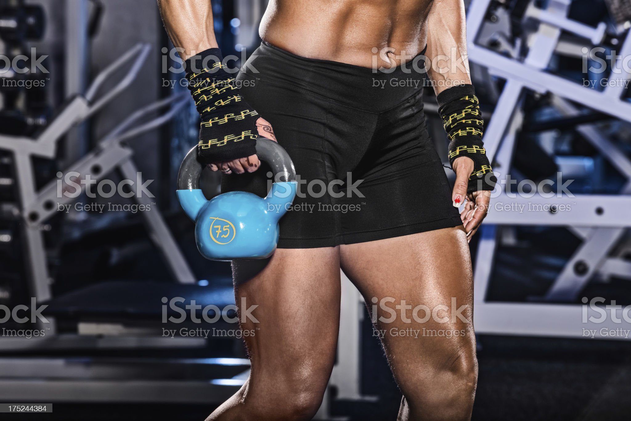 Pulling kettlebell royalty-free stock photo