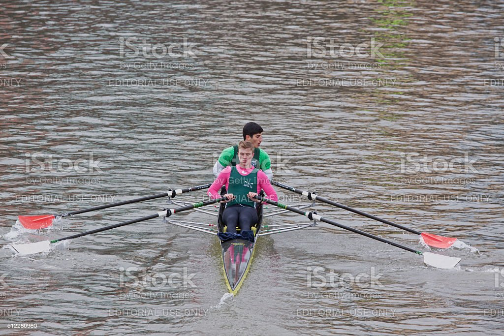 Pulling together in the middle of a race stock photo
