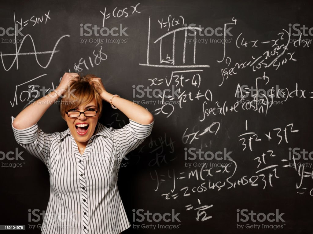 Pulling Your Hair Out Over Mathematics royalty-free stock photo