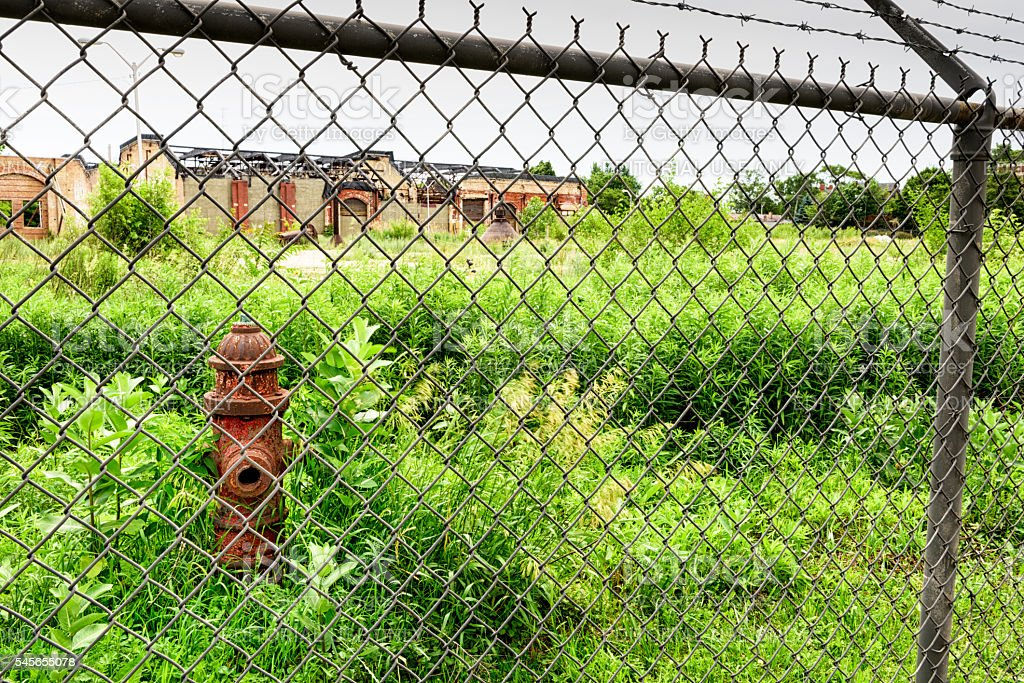 Pullman National Monument, derelict factory and fire hydrant stock photo
