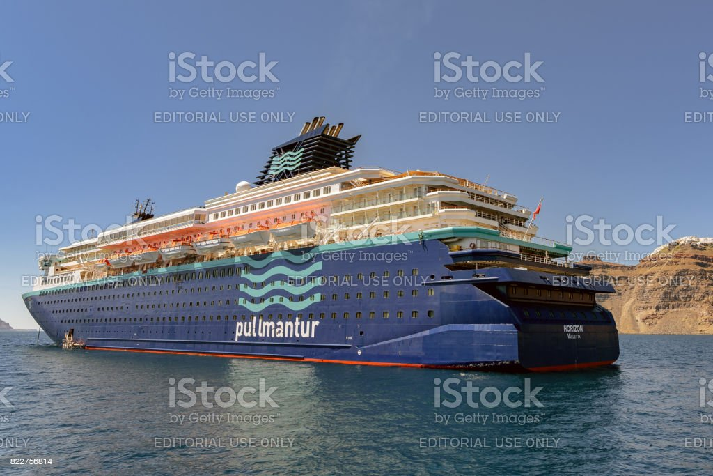 Pullmantur cruise ship Horizon anchored near Santorini island stock photo