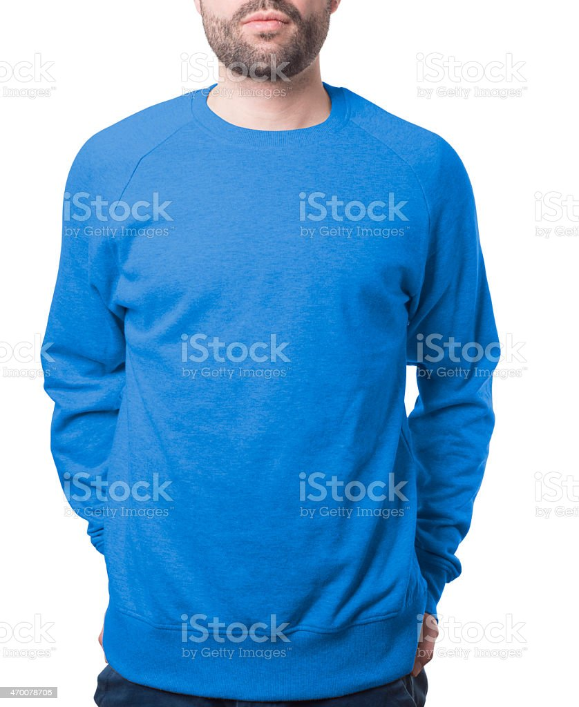 pullover template with guy blue stock photo