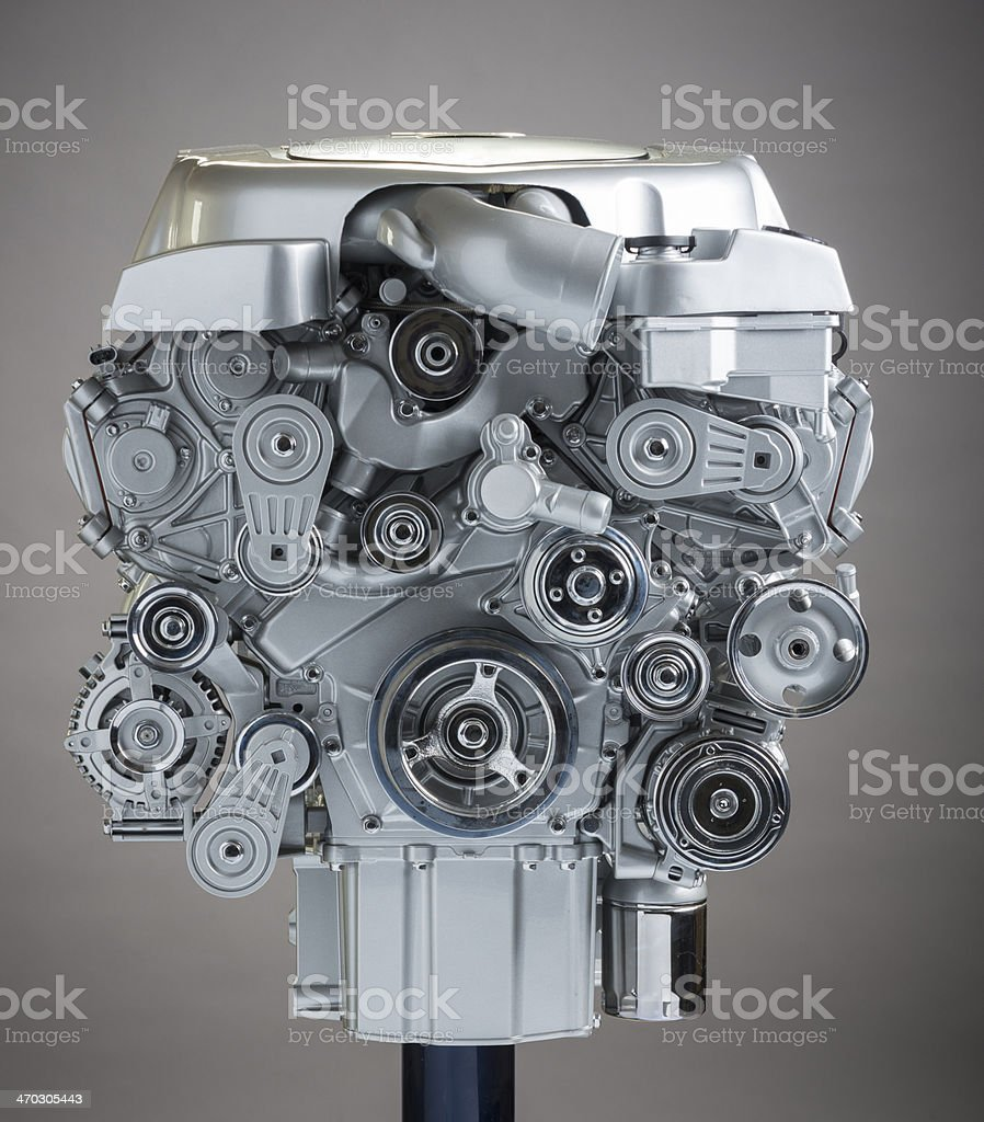 Pullys on a V-8 Engine stock photo