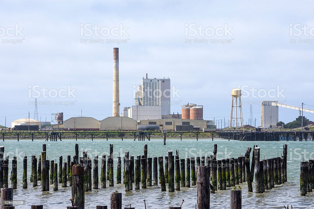 Pulp mill and pilings stock photo