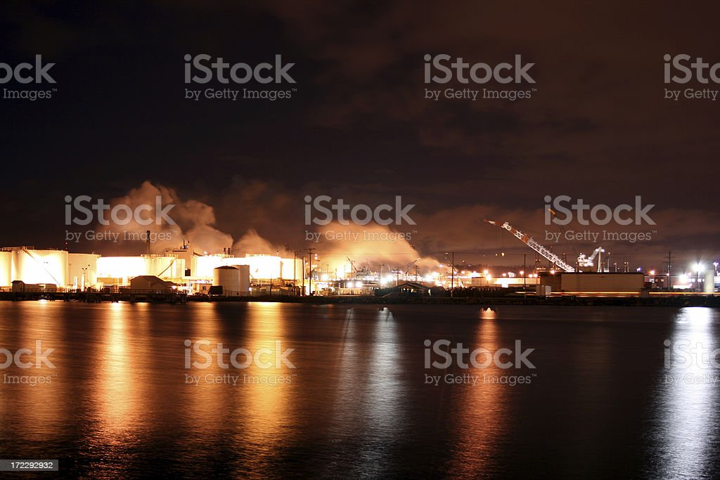 Pulp or Lumber Mill at night royalty-free stock photo