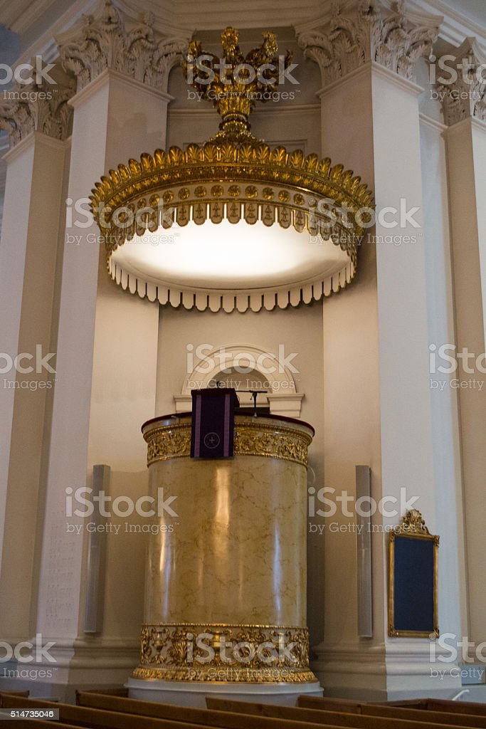 Pulpit in the Cathedral of Helsinki, Finland stock photo