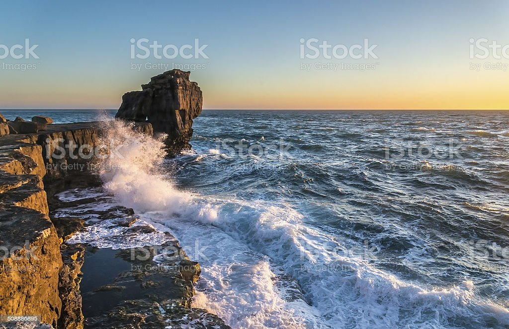 Pulpit Rock in Stormy Seas stock photo
