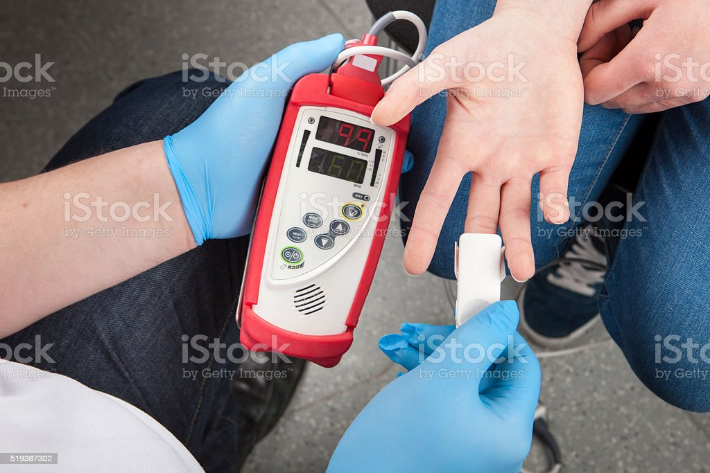 Pulse oximeter stock photo