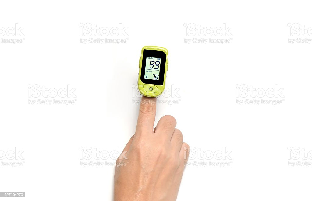 Pulse oximeter used  oxygen levels to and measure pulse rate stock photo