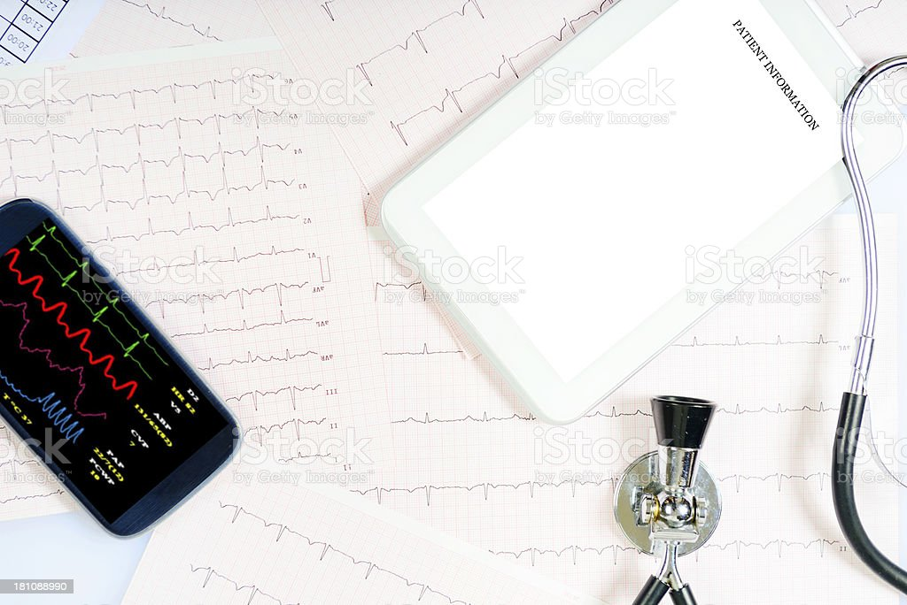 Pulse Trace and Digital Tablet royalty-free stock photo