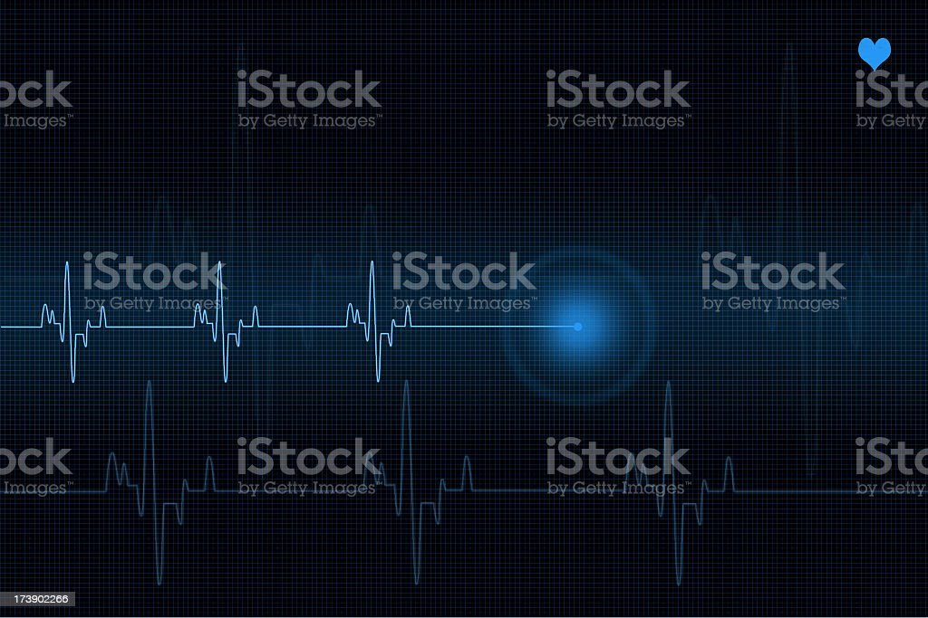 Pulse trace heart monitor in blue shades stock photo
