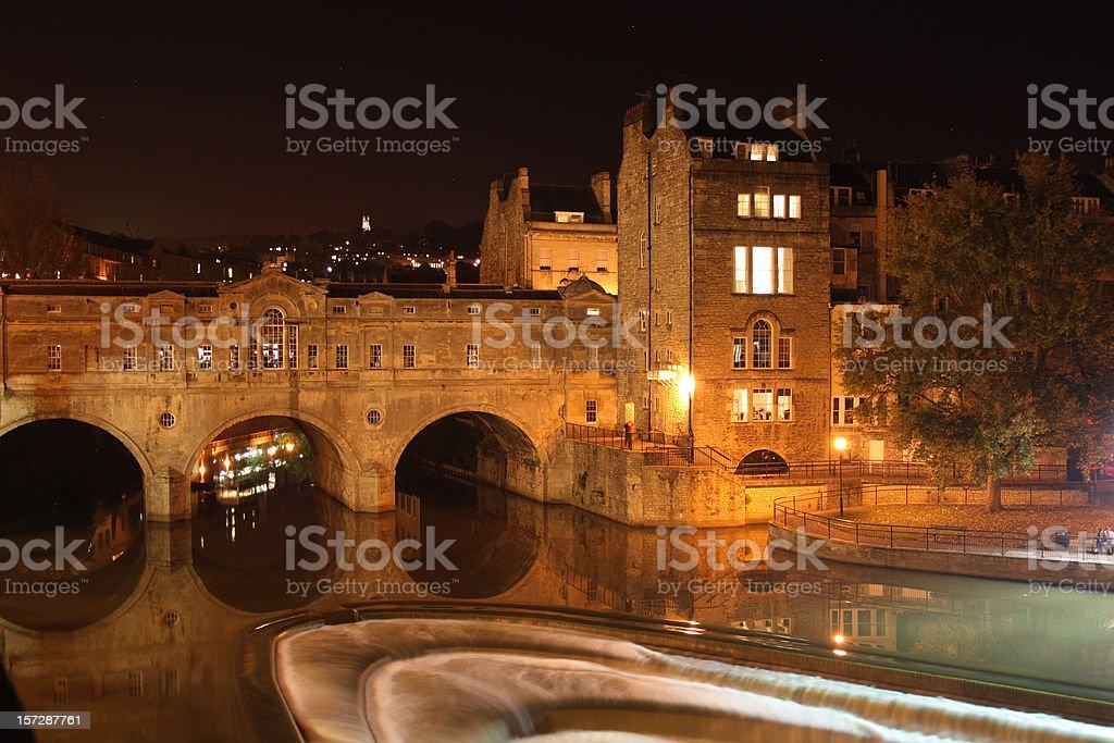 Pulteney Bridge and River Avon at night, Bath, England royalty-free stock photo