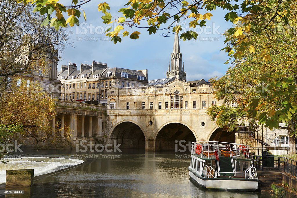 Pulteney Bridge and river Avon in Bath stock photo