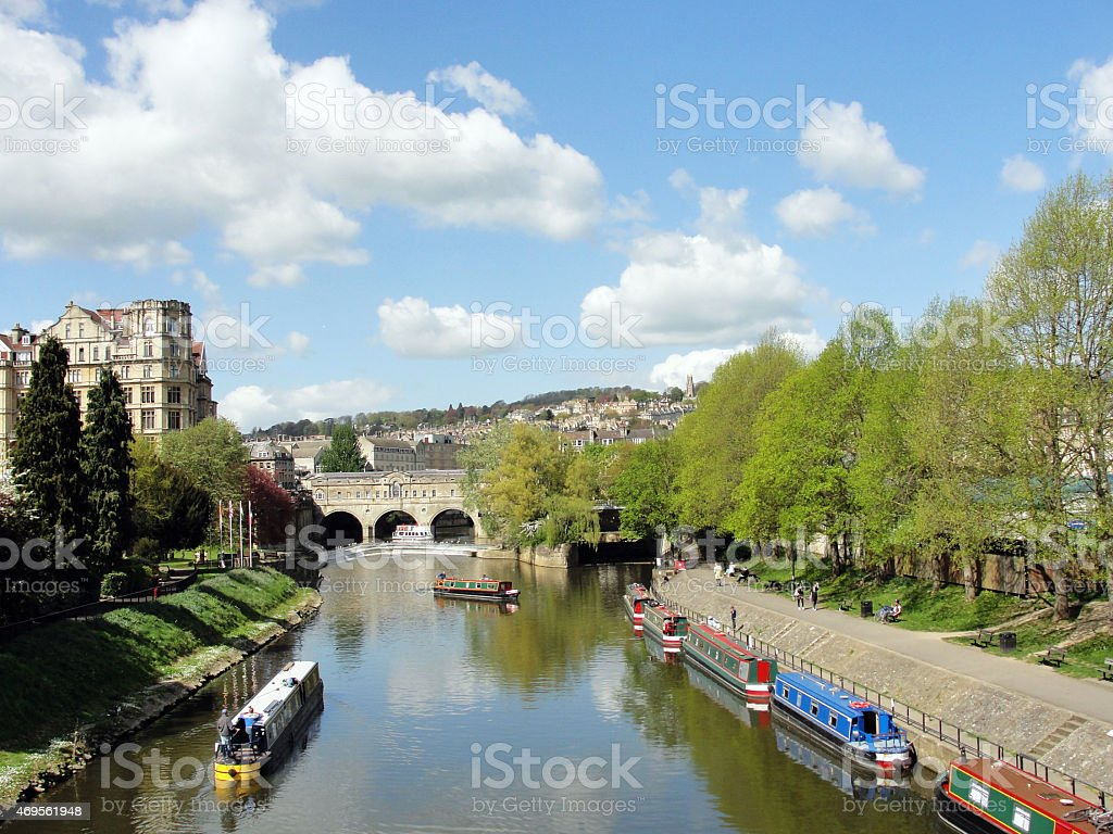 Pulteney Bridge and River Avon stock photo