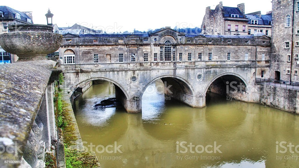 Pulteney Bridge on Avon river, Bath, UK stock photo