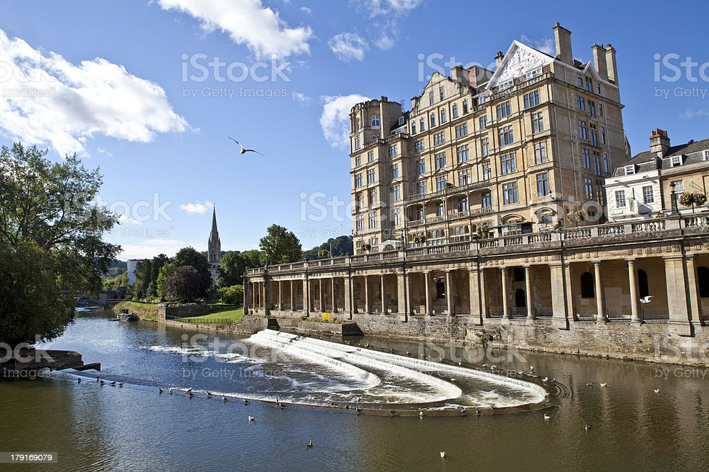 Pulteney Weir in Bath stock photo