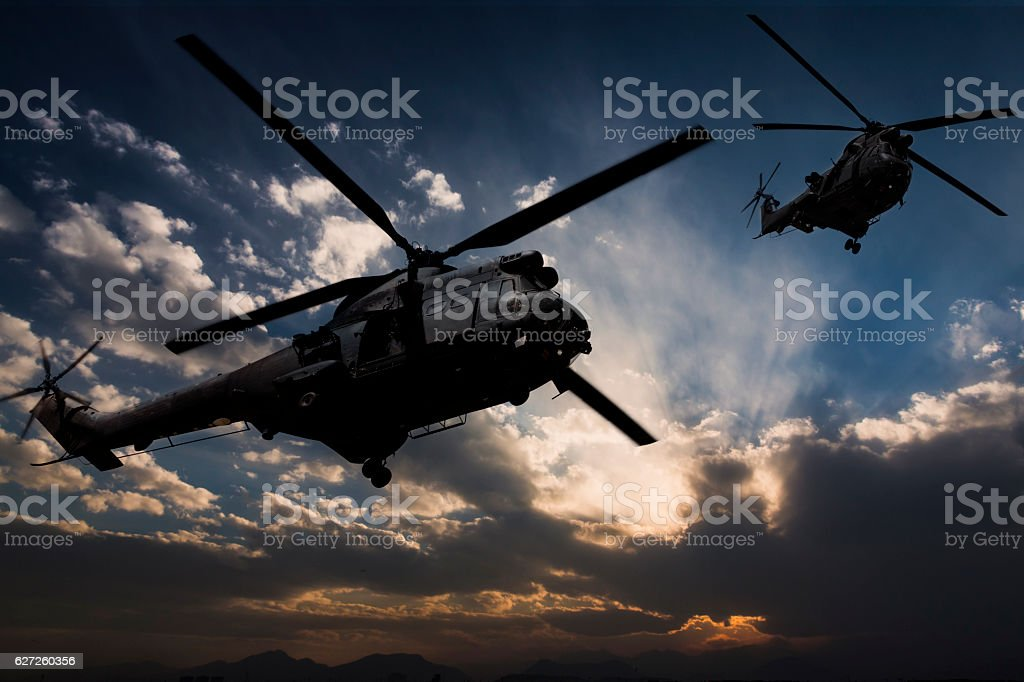 Puma Military Helicopters stock photo