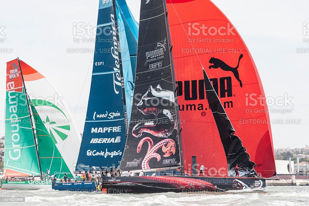 Puma, Telef?nica and Groupama team's racing on Lisbon. stock photo